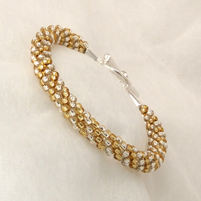 Silver and Gold Beaded Braid Bracelet