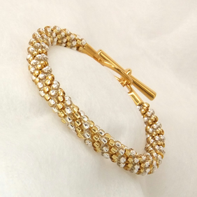 Gold and SIlver Beaded Braid Bracelet