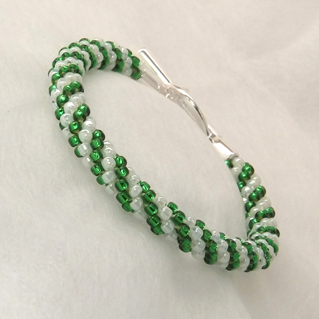 Green and White Beaded Braid Bracelet