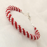 Red and White Beaded Braid Bracelet