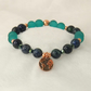 Chrysocolla, Copper and Glass Stretch Bracelet with Earth Charm