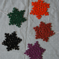 set of 5 coloured snowflakes