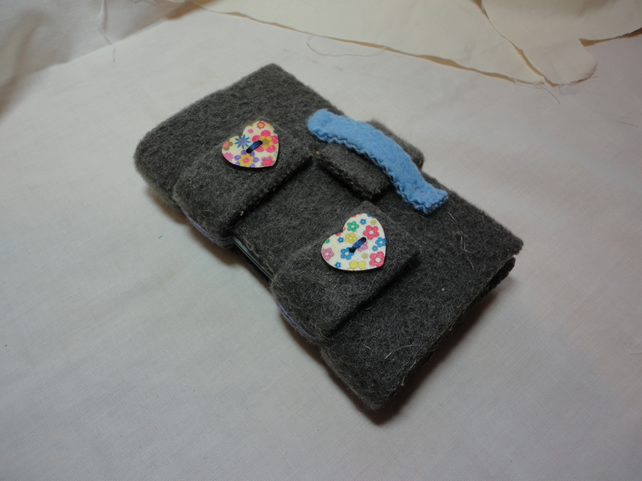 SALE - Cute as a button Handmade Felt Notebook-Valentine's-Mother's Day