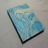 SALE - Blue sea handmade notebook with marbled papers