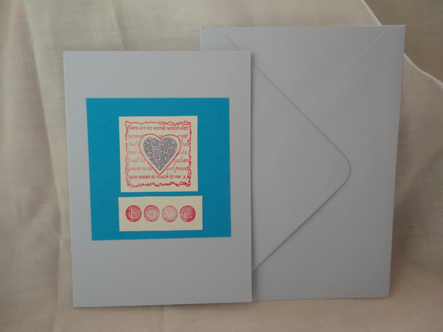 Love card- Silver Heart on blue- Anniversary card -Valentine's card