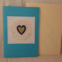 Heart -Gold blue white card - Anniversary card -Valentine's card