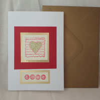 Love- red and white and gold card - heart - Anniversary card -Valentine's card