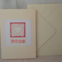 Love- red and white card- heart -Anniversary card -Valentine's card