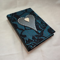 Lace - Handmade notebook with chalkboard heart -Valentine's -Mother's Day-Vegan