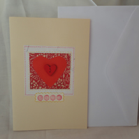 Love card - red wooden heart- japanese paper- Anniversary card-Valentine's card