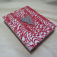 Red and Wire Heart -Handmade Notebook-Journal-Guest book-Anniversary-Love-Vegan