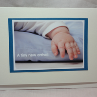 A tiny new arrival - baby boy - blue - new baby handmade card