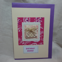 Pink Birthday Wishes - Handmade Birthday card - Pink - Present