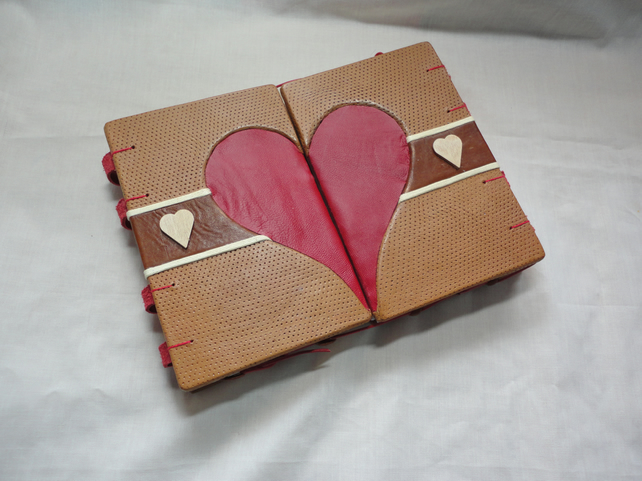 SALE - One heart-Leather Diary, Album,Guest book- Valentine's-Anniversary