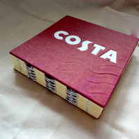 Costa- coffee thoughts -handmade notebook, mini journal, mini scrapbook, recycle
