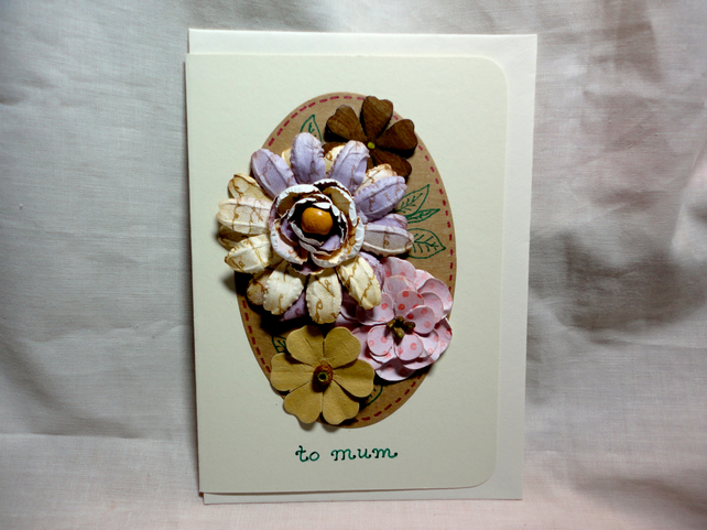 3D Flowers Mother's Day card handmade- brown, pink and purple