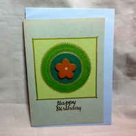 Happy Birthday handmade card green and flower
