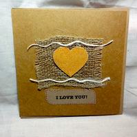 Valentine's handmade card - golden canvas heart hessian brown paper- Anniversary