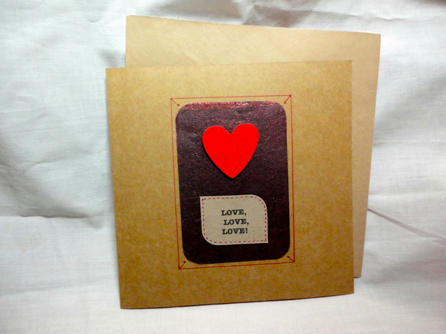 Valentine's handmade card- Love- Red wooden heart- Anniversary-brown paper