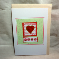 Valentine's red heart handmade card- Love- Anniversary-Wedding