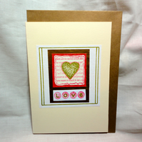 Love- red and white card- golden heart -Anniversary card -Valentine's card