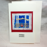 Blue White Red- Birthday Presents-  Birthday card handmade