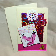 Happy Mother's Day pink flowers and shoes handmade card