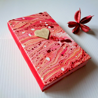 SALE -Red Wooden Heart- Handmade Notebook -Christmas -Valentine-Mother-Vegan