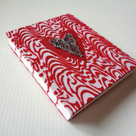 Red Wire Heart-Handmade Notebook-Journal-Guest book-Anniversary-Vegan-Valentine