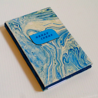 GREAT IDEAS- Blue sea- handmade notebook- marbled papers- christmas-birthday