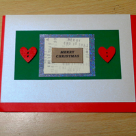 Merry Christmas- Handmade card- Christmas- red hearts-white-green-silver