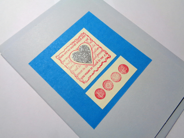 Love card- Silver Heart on blue- Anniversary card -Valentine's card- Handmade