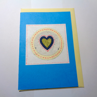Heart -Gold blue white - Anniversary card -Valentine's card- Handmade card-blank