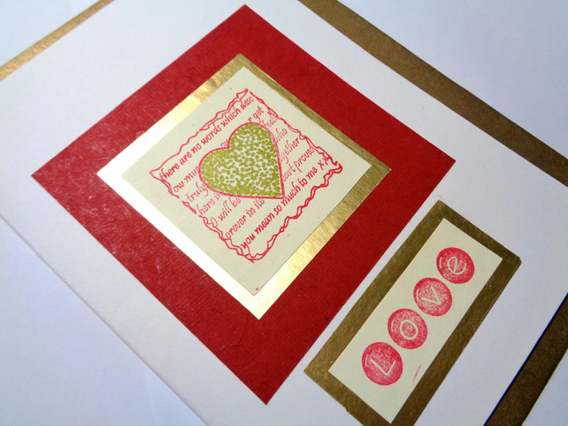 Love- red and white and gold- heart -Anniversary card -Valentine's card-handmade