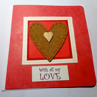 With all my love - cork heart with wooden heart- Anniversary - Valentine's card