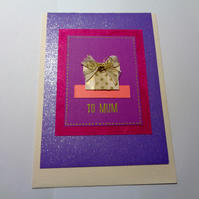 To Mum -present -purple -card for mum- Mother's day card