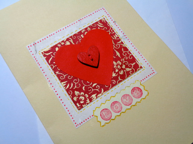 Love card -red wooden heart- japanese paper- Anniversary card-Valentine's card