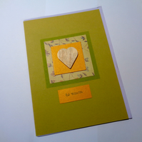 To Mum - wooden goldish heart -green - orange -card for mum- Mother's day card