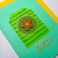 Happy Birthday- Handmade card- on green -wooden flower-stripes