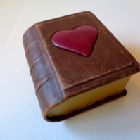 SALE -Gift Treasure Jewellery BOX handmade brown leather with red leather heart