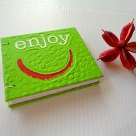 Enjoy- small notebook- handmade-recycled paper-green-birthday-christmas-gift