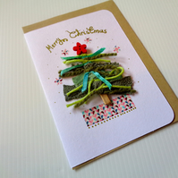 Christmas Tree- Ribbons and Threads - red-green - handmade card