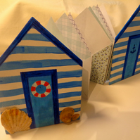Beach Huts handmade travel journal with envelopes - christmas-birthday-valentine