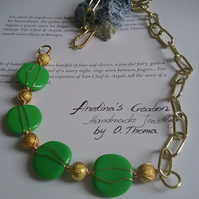Gold chain necklace, Green and Gold necklace, wire wrapped necklace, Gift idea