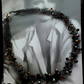 Wire crocheted black necklace with a effected crystals