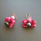 Hot pink organza fabric and crystal earrings. Fabric flowers Wedding earrings.