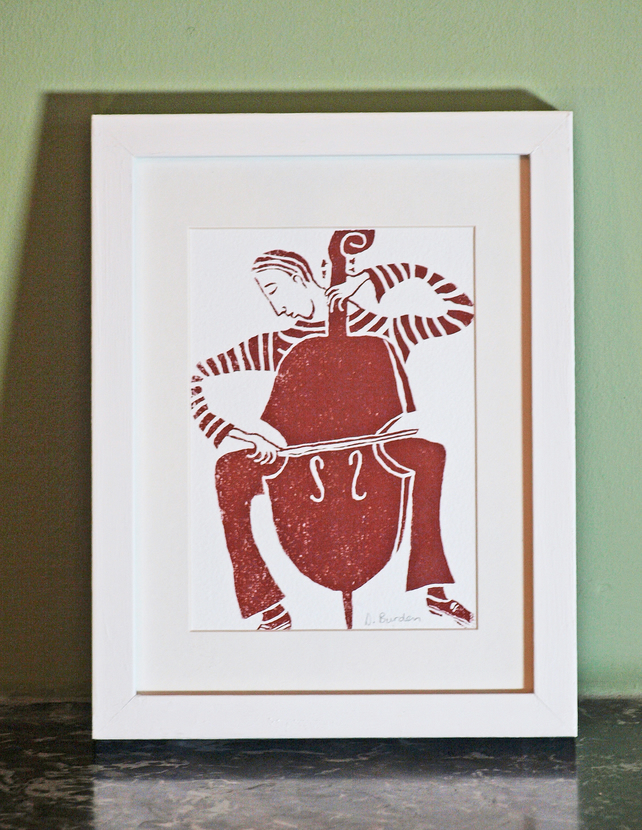 hand-painted framed screen-print of cellist