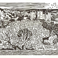 Hand-printed lino-print of Bolton Castle in Wensleydale, Yorkshire