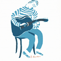 limited edition screen-print of guitar player