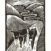The Two Donkeys by Denise Burden lino-print